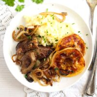 how to cook liver and onions, apple rings and mashed potatoes.