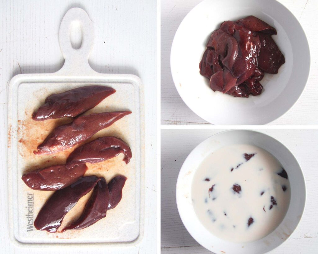 collage of three pictures of sliced liver on a board, bowl and soaking in milk.