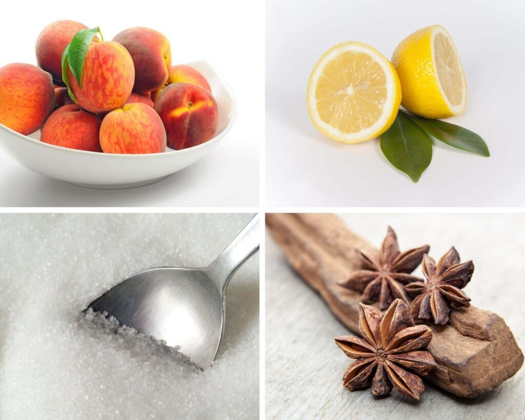 collage of four pictures of fresh peaches, lemons, sugar and star anise.