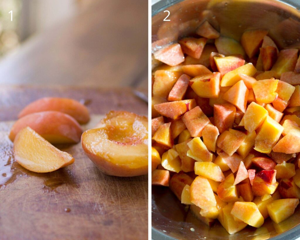 collage of two pictures of chopped peaches on a brown table.