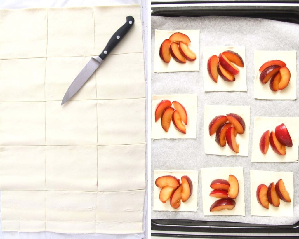 collage of two pictures of cutting and topping pastry squares with fresh fruit.