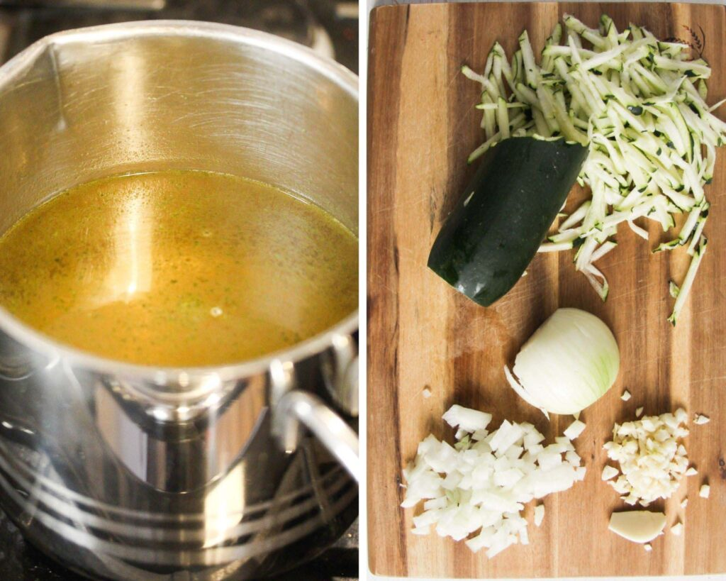 collage of two pictures of pot with stock and grated zucchini, chopped garlic and onions on a board.