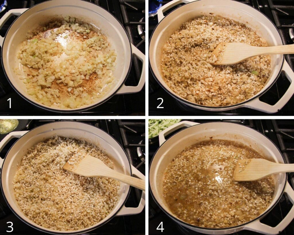 collage of four pictures of frying onions and rice, adding wine and then stock.