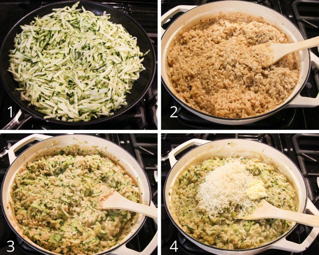 collage of four pictures of cooking grated zucchini, mixing it with rice and grated cheese.