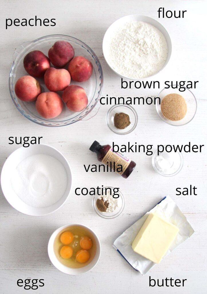 bowls with ingredients for making peach cobbler pound cake.
