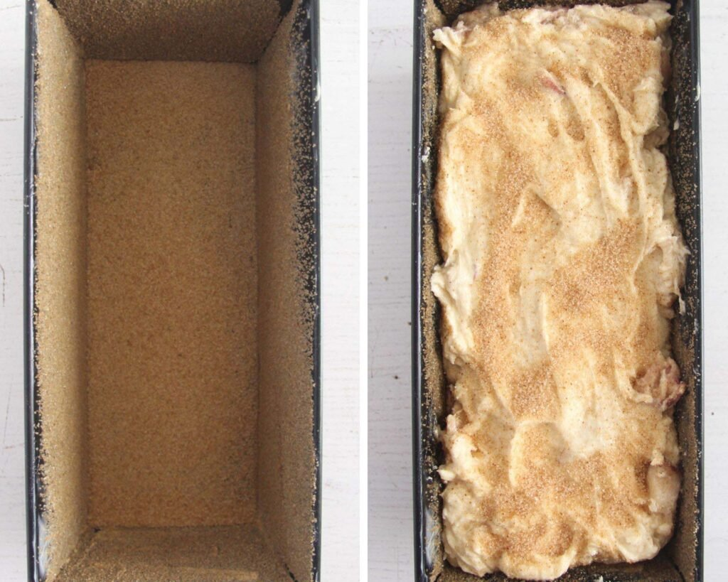 collage of two pictures of a loaf pan sprinkled with brown sugar and then with the batter inside.