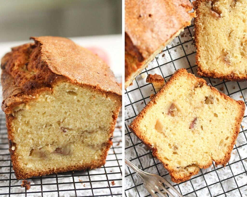 collage of two pictures of cut peach bread and the slices on a wire rack.