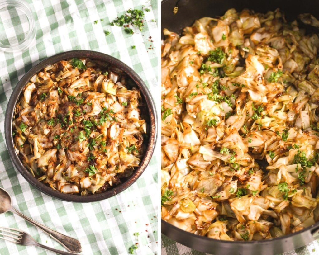 two pictures of cooked hispi cabbage.
